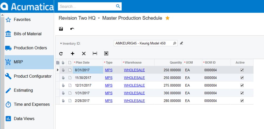 Acumatica Production Schedule Software